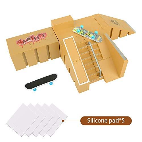 KidsHobby Mini Fingerskateboard-Park Kit mit 5 unabhängige Anbauteile und 2 Fingerboards -