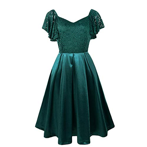 (Damen Kleid,❤️Binggong Damen Kurzarm-Ball-Partykleid mit V-Ausschnitt)