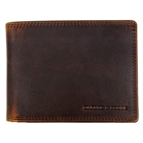 Geldbörse Herren Echt-Leder-Geldbeutel Brieftasche Portmonee RFID-Schutz Münzbörse Business Edel HS11 (Querformat, Dunkel-braun)