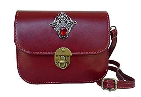 Trachtentasche Umhängetasche fürs Dirndl im Vintage Design - Antikstil Applikation (Rot