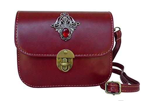 Trachtentasche Umhängetasche fürs Dirndl im Vintage Design - Antikstil Applikation (Rot (Ornament))