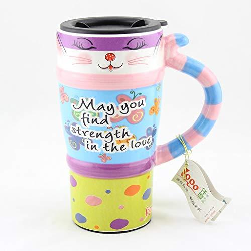 CJH Tasse de chat peinte Tasse avec des animaux mignons et couvercle avec une tasse de café en céramique