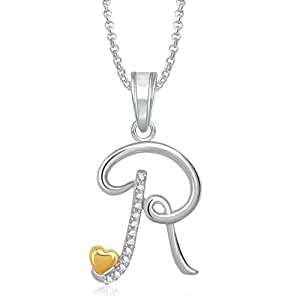 Meenaz Silver Plated 'R' Alphabet Pendant Necklace For Men And Women