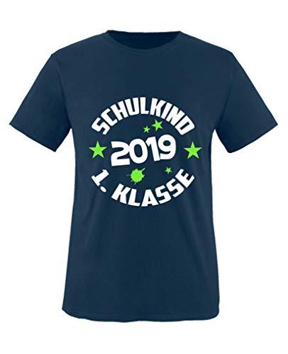 Comedy Shirts - Schulkind 2019 1. Klasse - Jungen T-Shirt - Navy/Weiss-Neongrün Gr. 122/128