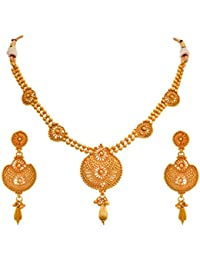 JFL- Traditional Ethnic Gram Gold Plated Designer Necklace Set With Earrings For Women & Girls.