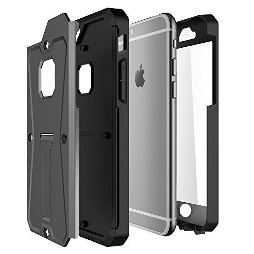 iPhone Case Cover 2 In 1 neue Rüstung Tough Style Hybrid Dual Layer Armor Defender PC Hartschalen mit Standfuß Shockproof Fall Für IPhone 6s 6 ( Color : Gray , Size : IPhone 6s ) Gray