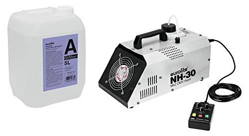 Eurolite NH-30 MK2 DMX Dunstnebelmaschine mit 5L Nebelfluid (extrem kompaktes Dunstnebelgerät mit 720W, Timer, Funkfernsteuerung & DMX inkl. 5-Liter Nebelfluid auf Wasserbasis & geruchsneural)