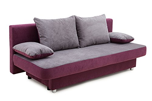 Collection AB 100699 Schlafsofa, Stoff, lila / grau, 85 x 186 x 77 cm