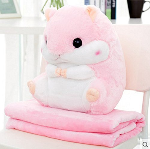 ChezMax Rosa Süßer Hamster Plüsch Dekorative Dekokissen Decke Set für Home Office Stofftier Niedliches Spielzeug Kissen für Kinder