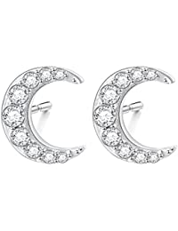 S925 Sterling Silver Cz Crescent Moon Stud Earrings