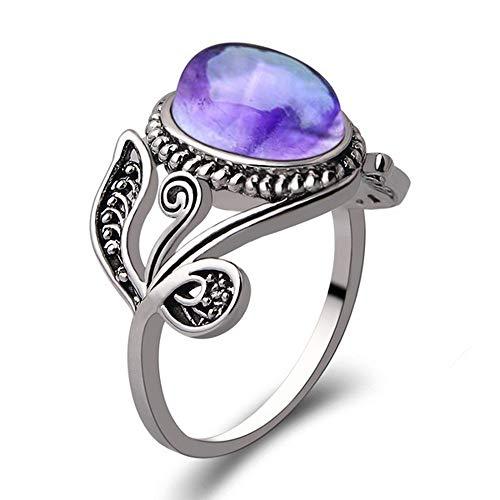 Natürliche Amethyst Mode Frauen Kristall Silber Zirkonia Band Ring Schmuck YunYoud perlenring Accessoires bastelringe holzring günstig modeschmuck stahlring frauenring