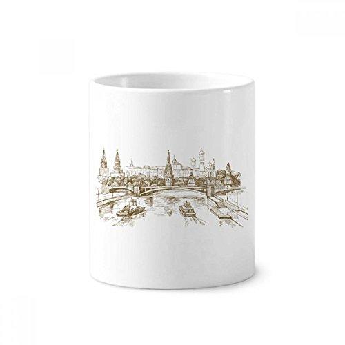 River Bridge Landmark Sketch Keramik Zahnbürste Stifthalter Becher weiß Tasse 350ml Geschenk Bridge-becher