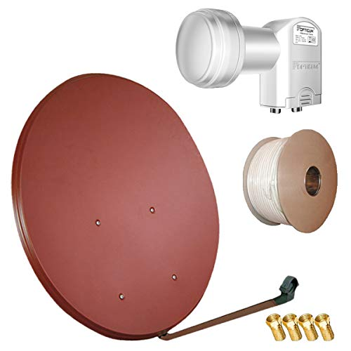 Bundle by netshop 25 HD Sat Anlage 100 cm Spiegel + 20m Kabel + HD Twin LNB für 2 Teilnehmer (3 Farben wählbar)