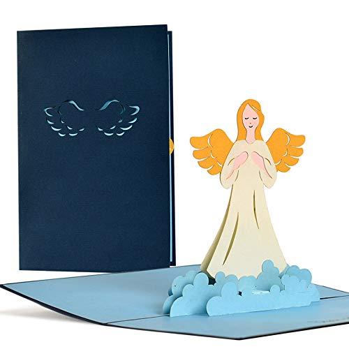 Schutzengelkarte, Glückwunschkarte mit Schutzengel in 3D, Geschenkkarte, Grußkarte, Geburtstag, Taufe, Genesung, Gute Besserung, C18 (Taufe Karten)