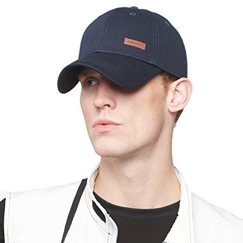 CACUSS Herren Baumwolle Klassischer Baseball Kappe Adjustable Buckle Closure-Vati-Hut Sport-Golf-Kappe einheitsgröße b0080_Marine