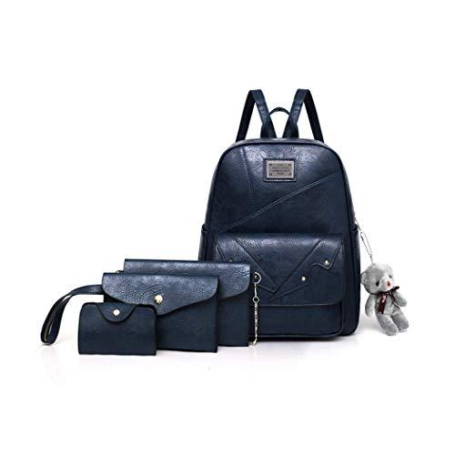 Soft-laminiert (YHWGV Frauen Rucksack, Retro Style Soft PU Leder Anzug Rucksack Umhängetasche Umhängetasche Brieftasche Karte Paket 4-teiliges Set)