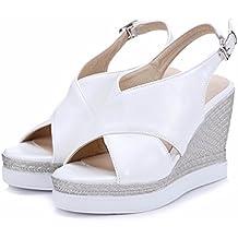 Damas de verano sandalias de tacón, zapatos boca de pescado,blanca,41