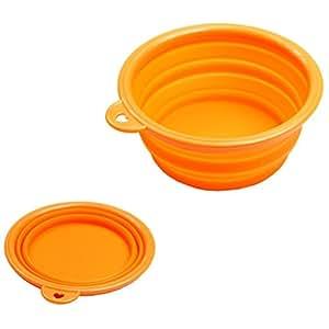 Estone Dog Cat Pet Portable Silicone Collapsible Travel Feeding Bowl Water Dish Feeder (Orange)