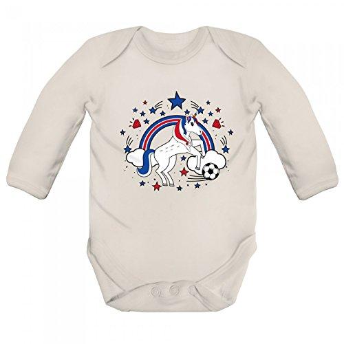 Shirt Happenz Costa Rica Weltmeisterschaft 2018#26 Babybody Fan Trikot Fußball WM Nationalmannschaft Langarm Langärmliger Strampler, Farbe:Natur (Natural BZ30);Größe:12-18 Monate