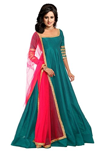 Greenvilla Designs Sky Blue Banglory Silk Anarkali Dress