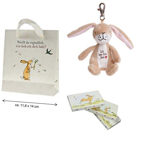 Weißt du eigentlich, wie lieb ich dich hab Geschenktasche mit Schoko-Täfelchen & Plüsch-Hase für (Amazon Seestern Kostüm)