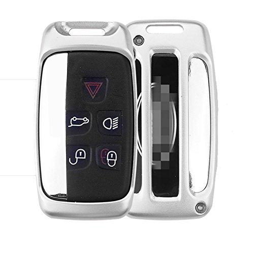 [m. jvisun] Auto Schlüsselanhänger Cover für Land Rover Discovery Sport Discovery 4Freelander 2range rover Evoque Fernbedienung Schlüssel, Smart Auto Key Cover Fall Haut, Aircraft Grade Aluminium + Echtes Leder Schlüsselanhänger, silber