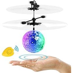 Domserv Bola voladora RC RC Flying Juguetes Recargable Helicóptero de inducción infrarrojo con Control Remoto para Niños Niñas Niños Adolescente Halloween Navidad