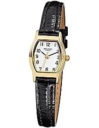 Regent Damen-Armbanduhr Elegant Analog Leder-Armband schwarz Quarzwerk-Uhr Ziffernblatt weiß URF022