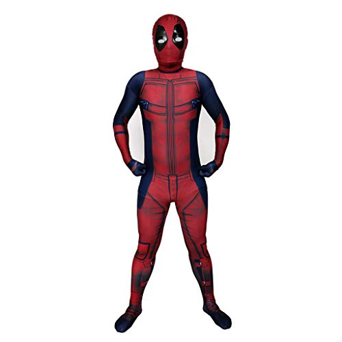 Halloween Deadpool Overalls Kind Cosplay Anime Body Kostüm Spiele Kostüm Jungen Mädchen Lycra Spandex Onesies Kleidung Film Fans Zentai Outfit,Rot,L (Deadpool Kostüm Spiel)