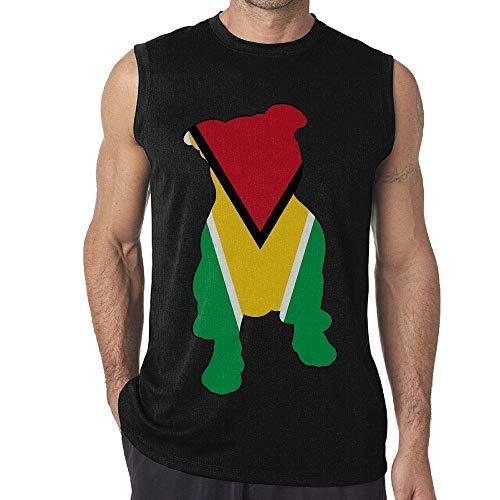 534f4a0a85fda1 Guyana Flag in Pitbull Men s Sleeveless T-Shirt Tank Top Casual Gym Vest Tee