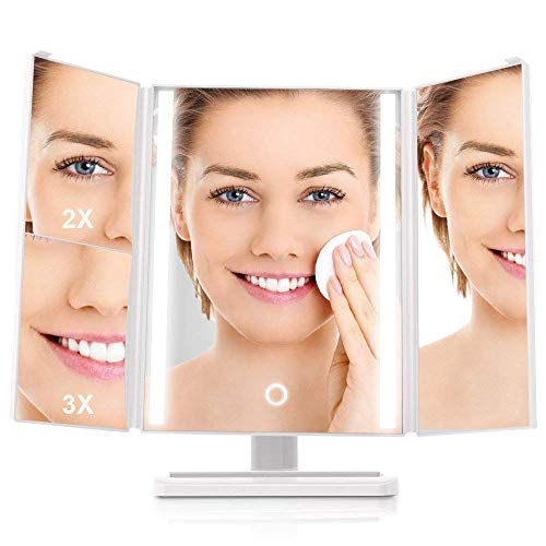 MiroPure Makeup Mirror, Tri-fold Led Lighted Mirror with Touch Dimmer and 180-Degree Rotation, USB Cable or Battery Powered