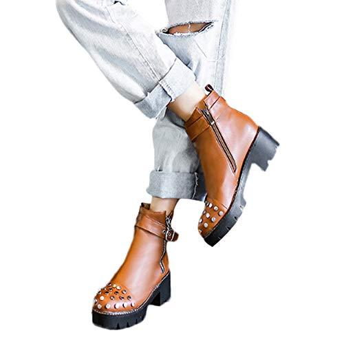 (MYMYG Damen Runde Zehe Boots Stiefel Frauen PU Leder Bruckle Zip-up Strap Runde Kopf Mode hübsche Seite Low Heel High Top Punk Biker Schuhe Dicker Plateauschuhe)