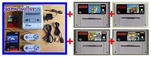 Set: SNES Konsole Super Nintendo Entertainment System Konsole Console (inkl. ALLES nötige Zubehör) UND MIT ALLEN 4 Super Mario SNES Original Spiele : Super Mario Kart / Mario World / Mario All Stars / Mario World 2 Yoshis Island (Super Nintendo Spiele Klassiker Set) Super Mario World 2 Snes