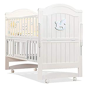 VBARV Solid Wood Crib, Multi-function Cradle Bed, Children's Splicing Bed, Portable Folding Bed, Suitable for Infants 0-8 Months Cute Nest   1