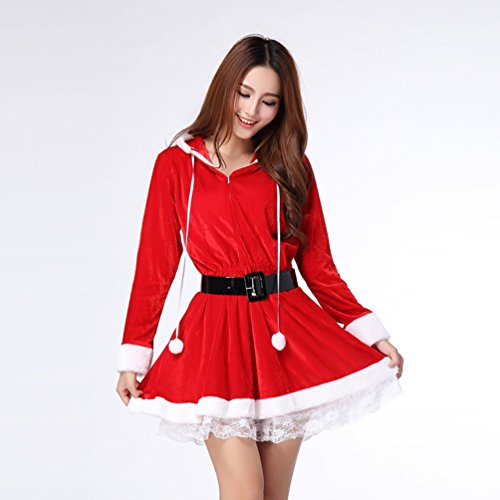 Baymate Damen Weihnachtsmann Kostüm Miss Santa Cosplay Prinzessin Kleid Stil 2 (Kleid+Gürtel)