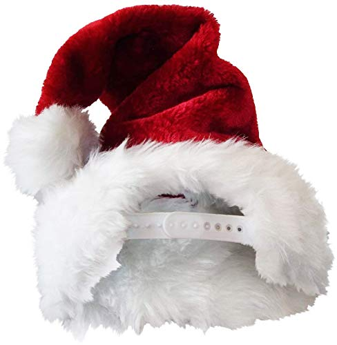 URVI Creation 1 Pcs Adjustable Strap Santa Hat Christmas Xmas Santa Claus Cap Hat Merry Christmas Hat Cap for Christmas / Xmas Party Celebration