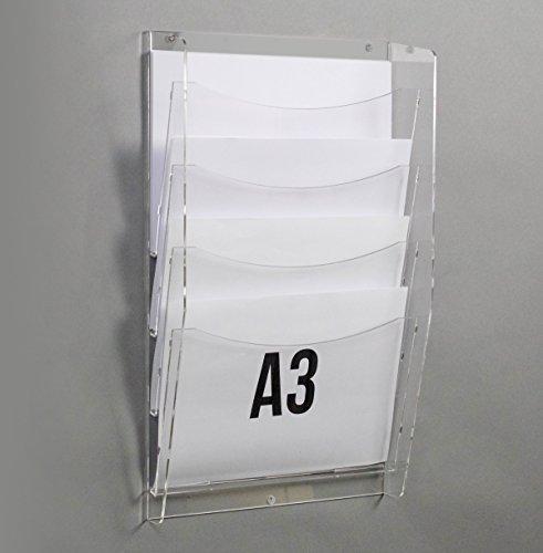 Rbt espositori porta depliant da parete con nr. 4 tasche f. to a3 orizzontali