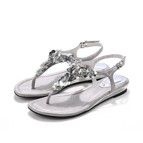 fan4zame Damen Keil Sandalen Perlen über der oberen Plattform High Heels Cool bequem atmungsaktiv Sandalen 35 Silver