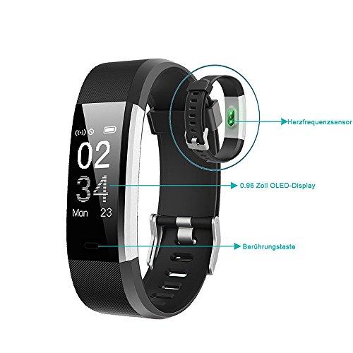 YAMAY Fitness Armband Uhr mit Pulsmesser Wasserdicht IP67 Fitness Tracker Aktivitätstracker Pulsuhren Smartwatch Fitness Uhr Schrittzähler ArmbandUhr mit Schlafmonitor Kalorienzähler Vibrationsalarm Anruf SMS Whatsapp Beachten für iPhone Android Handy - 9