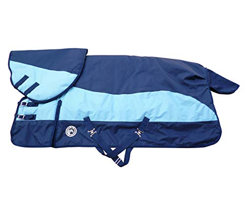 LOVEPET Winter Pferd Decke Cotton Horse Decke Dick Warm Wasserdicht, Regen, Wind, Reiß-Kragen, Abnehmbare Ausschnitt, Tail Cover, Blau