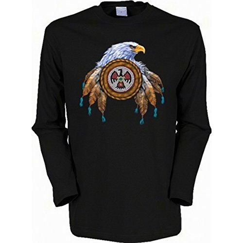 Langarm-Shirt mit Indianer Motiv geil bedruckt / Eagle ! Schwarz