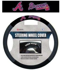 Fremont Die 68515 Poly-Suede Steering Wheel Cover - Atlanta Braves