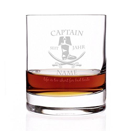 Herz & Heim® Rum Glas - Captain - mit Gratis Gravur des Namens u. Geburtsjahr