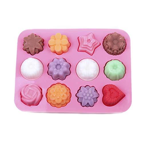 bhty235 Silikon-Kuchenformen-Set, 12 Mulden, gemischter Stil, 3D-Blumen, Stern, Herzform, Schokolade, Pudding, handgefertigt, Basteln, Eiswürfelform, Kuchen, Kekse, Backen