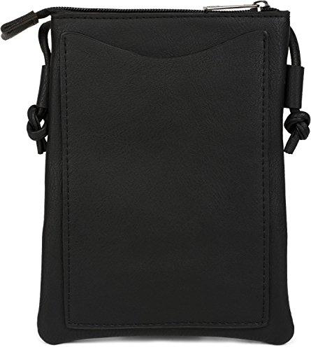 styleBREAKER borsa mini a tracolla con motivo a intaglio a zigzag e borchie, borsa da spalla, borsetta, donna 02012211, colore:Nero Nero