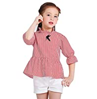 ACVIP Kids Girl's Stripe Print Half Sleeve Casual Blouse Tops (6-7 Years / Tag 150, Red Stripe)
