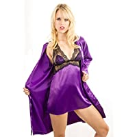 Yummy Bee Lingerie Plus Size Satin Robe Babydoll Set Dressing Gown Negligee G String