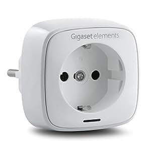 Gigaset Funksteckdose elements plug | Smart Home Sicherheitssystem mit iOS|Android App Überwachungstechnik | Funk-Steckdose smart protection alarm system | Hausautomation mit DECT Funk Technologie, Stecker, weiß