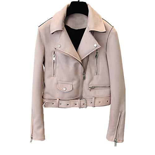 PYKDB Frauen Faux Pu Leder Fashion Slim Belted Short Mäntel Wildleder Motorrad Jacken Coat M Pink (Faux Belted Leder)