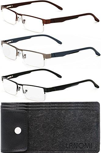 Lesebrillen Metall Sehhilfe Augenoptik Halbrand Halbrandbrille Brille Lesehilfe für Damen Herren von 1.0 1.5 2.0 2.5 3.0 3.5 4.0 (3 Farben Set (Schwarz+Braun+Grau), 2.5)